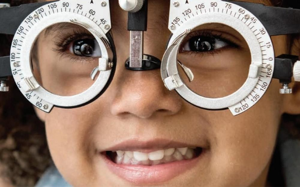 Girl at ophthalmologist